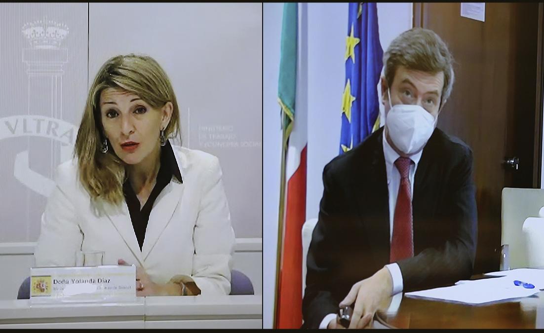 España e Italia acuerdan impulsar el avance en los derechos de las personas trabajadoras a través de plataformas digitales en la...